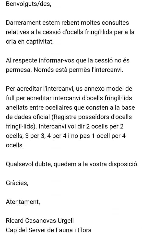 Carta de jefe de cataluña de fauna y flora